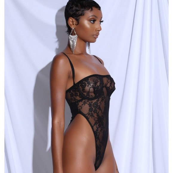 better sneakers for cheap vast selection Matte brand black lace thong bodysuit